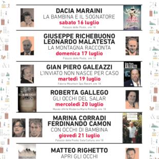 Sabato 16 luglio inaugurazione di Una Montagna di Libri con Dacia Maraini