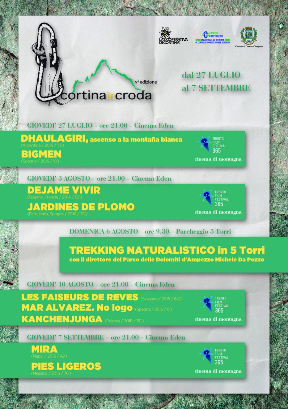Cortina InCroda 2017: cinema di montagna e trekking.