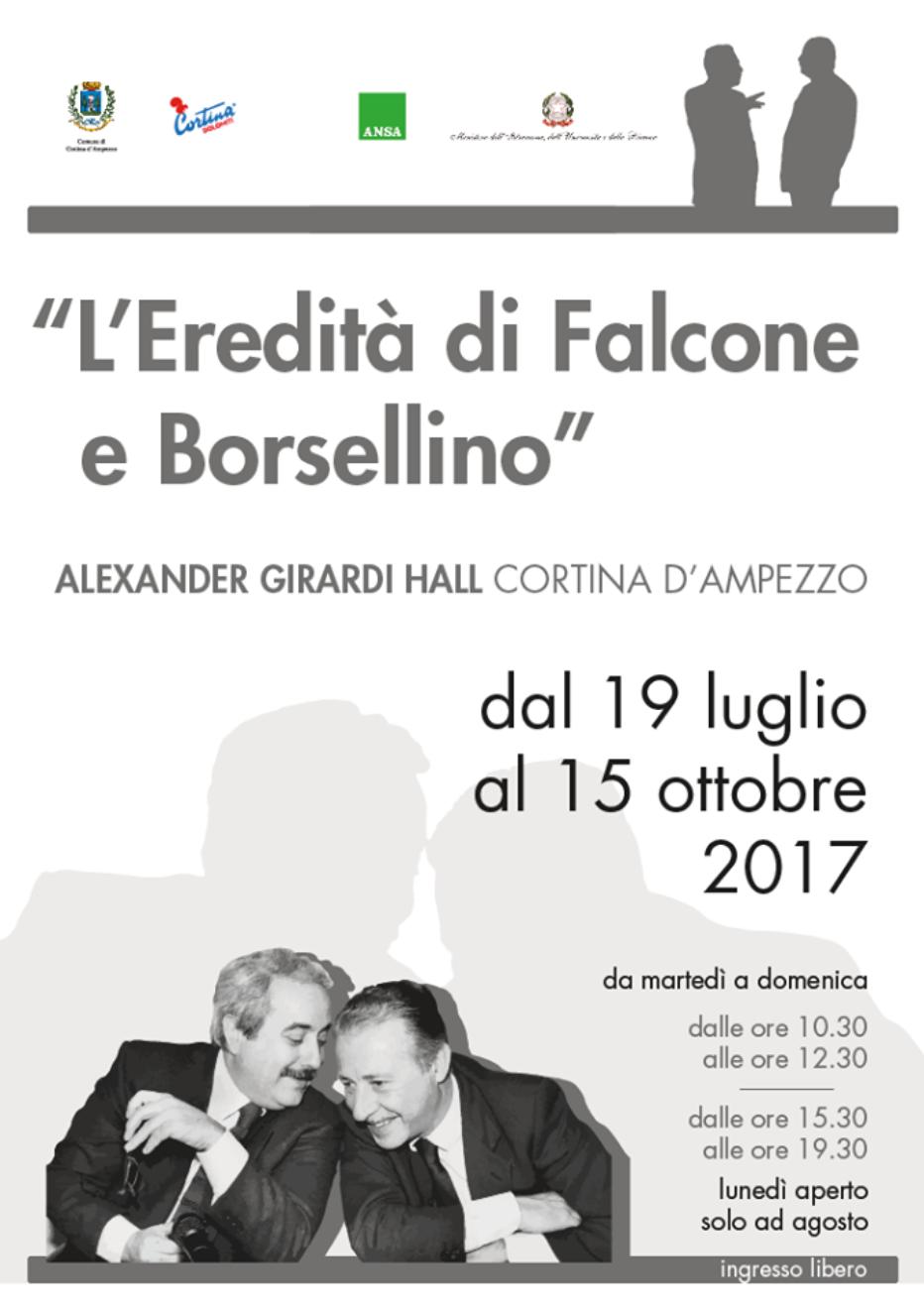 """""""L'EREDITÀ DI FALCONE E BORSELLINO"""" A CORTINA LA MOSTRA DELL'ANSA"""
