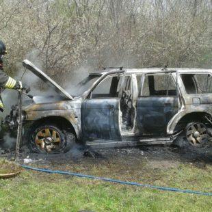 Incendio autovettura in località Dussano nel comune di Santa Giustina.
