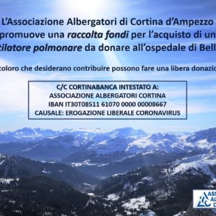 80MILA EURO DALL'ASSOCIAZIONE ALBERGATORI CORTINA PER L'EMERGENZA COVID